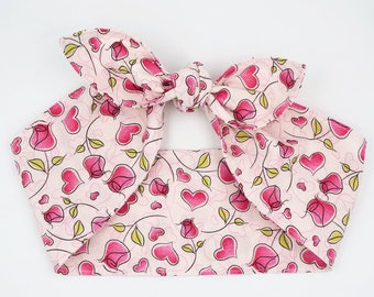 Top knot headscarf headband • PINK ROSES and HEARTS