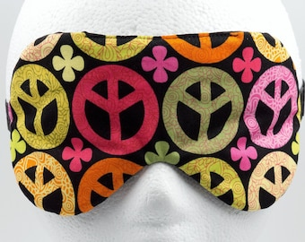 PEACE SIGN sleep mask, Handmade eye mask, Gift for hipster, Gift for hippie, Slumber party favor, Bridesmaids gift