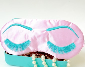 PINK & TURQUOISE Holly Golightly sleeping eye mask, Eyelashes sleep mask, Satin sleep mask, Bridesmaids gift, Slumber party favor