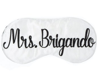 Personalized sleep mask, Bride to be sleep mask, Custom name sleep mask, Bridal shower Engagement gift, Mrs to be Future Mrs sleep mask