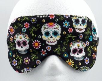 SUGAR SKULL sleep mask • Handmade sleep eye mask • Day of the Death sleep mask • Gifts under 10 • Bridesmaids gift • Travel sleep mask