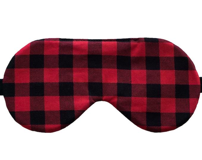 Featured listing image: Red buffalo plaid sleep mask, Handmade sleep mask, Tartan sleep mask, Holiday sleepwear, Christmas sleep mask, Stocking stuffer gift
