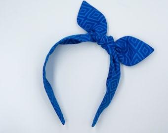 Knotted bow headband • GEOMETRIC BLUES