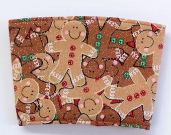 GINGERBREAD coffee cup cozy  • Coffee cup sleeve • Handmade coffee cozy • Reusable coffee cozy • Fabric cup sleeve • Christmas coffee cozy