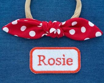 Rosie the Riveter Nylon Headband, Girl Power Halloween Costume, Rosie Patch, Red Polka Dots Baby Toddler Girl Headband