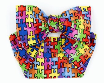 Handmade head wrap headband • RAINBOW PUZZLE