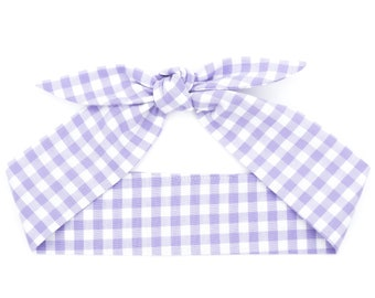 Gingham top knot headband • Knotty bow headband • Knotted headband • Bow tied headband • Handmade top knot bow headband • ORCHID GINGHAM