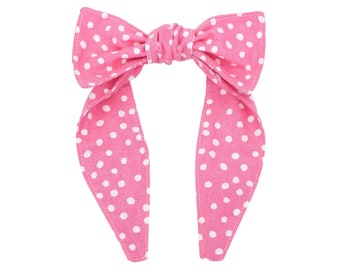 Top knot headband • Knotted bow headband • One size headband • Polka dots headband • Kawaii headband • PINK CRAZY DOTS
