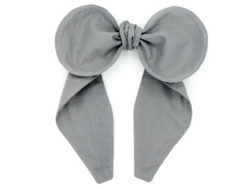 Top knot bow headband • Handmade headband • Big bow headband • Solid color headband • GRAY