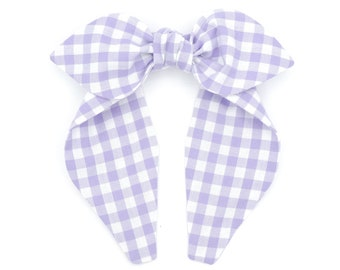 Gingham top knot bow headband • ORCHID PLAID