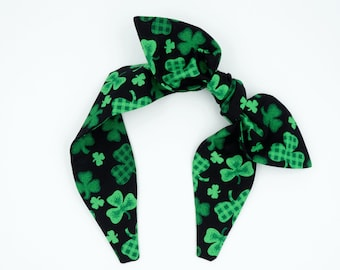 Handmade top knot bow headband • CLOVERS