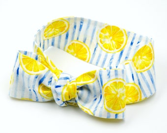 Summer head wrap headband • LEMON SLICES and STRIPES