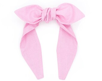 Top knot bow headband • GLITTER PINK