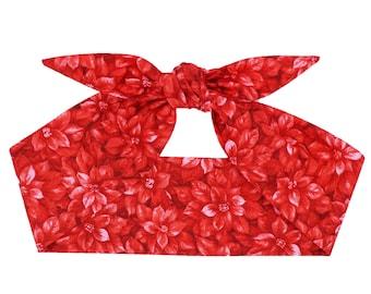 Red Poinsettia headscarf, Christmas hair scarf, Pin up headband, Novelty headband, Top knot headband, Christmas red headband