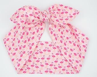 Handmade top knot headscarf headband • ALL PINK FLAMINGOS