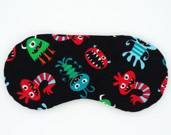 HAPPY MONSTERS sleep mask, Handmade eye mask, Slumber party sleep mask, PJ Party favor, Kids sleep mask, Gift for teacher, Gift for children