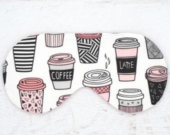 COFFEE sleep mask, Coffee cups sleep eye mask, Coffee lover gift, But first coffee eye mask, Stocking stuffer sleep mask, Travel gift