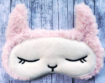 LLAMA sleep mask, Alpaca sleep mask, Pink fleece sleep mask, Adjustable eye mask, Gift for girls, Gift for teacher, Animal sleep mask