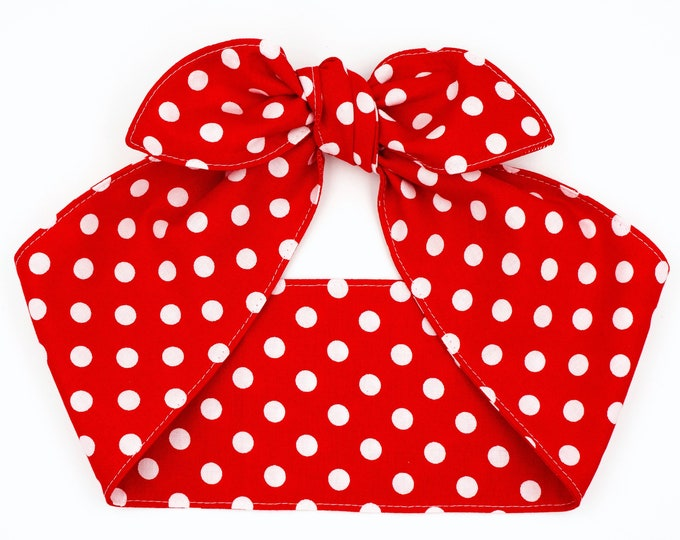 Featured listing image: Red polka dots headband, Top knot head wrap, Rosie the Riveter We can do it hair scarf, Pin up Rockabilly headband, Christmas headband