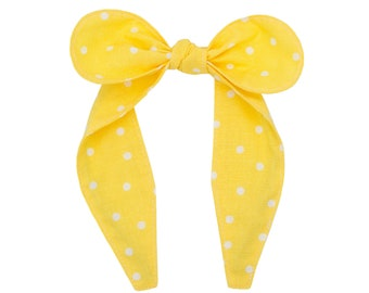 Top knot headband • YELLOW POLKA DOTS