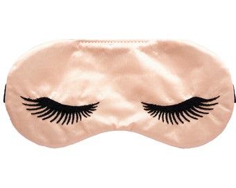 EYELASHES Peach satin sleep mask, Bridesmaid proposal gift, Slumber party favor, Gift for women, Travel eye mask