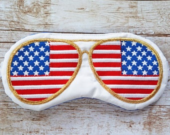 Top Gun Aviator sunglasses sleep mask • Adjustable sleep mask • Unisex sleep mask • Cool gift for guys • Gift for Pilot • USA FLAG