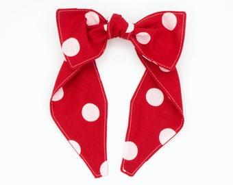 Top knot red polka dot headband • BIG POLKA DOTS