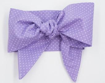 Handmade hair scarf headband • LAVENDER MINI DOTS