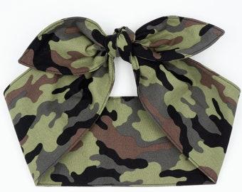 Top knot headscarf headband head wrap • CAMO