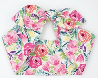 Floral top knot headband head wrap • LIMITED QUANTITY