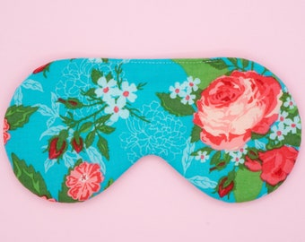 Roses sleep mask, Handmade floral eye mask, Bridesmaids gift, Slumber party favor, Gift for her, Shabby chic party theme, Aqua Pink eye mask