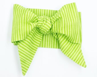 Handmade head wrap headband • GREEN STRIPES