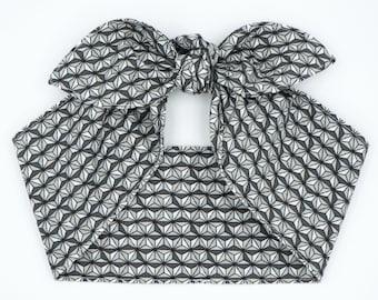 Top knot head wrap headband • GEOMETRIC GRAY