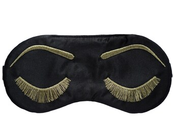 BLACK and METALLIC GOLD Holly Golightly sleep mask, Bridesmaid proposal gift, Satin sleep mask, Vintage glam eyelashes sleeping eye mask