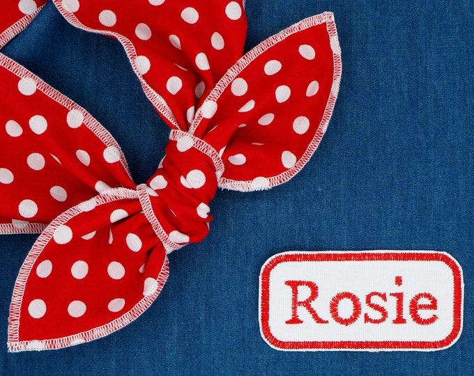 Featured listing image: Rosie the Riveter headband, Rosie name patch, Halloween costume idea, We can do it headband, Red polka dots headscarf, Girl Power hair scarf