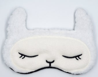 LLAMA sleep mask, Alpaca sleep mask, Fleece sleep mask, Adjustable eye mask, Gift for girls, Gift for teacher, Animal sleep mask