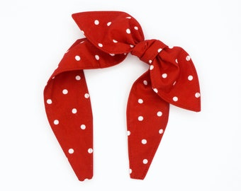 Top knot bow band • RED POLKA DOTS