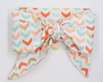 Handmade head wrap headband • MINT CORAL CHEVRON