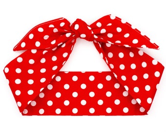Top knot headband head scarf • RED WHITE DOTS