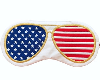 US FLAG sleep mask • Aviator sunglasses sleep mask • Top Gun sleep mask • Unisex sleep mask • Cool gift for guys • Gift for Pilot