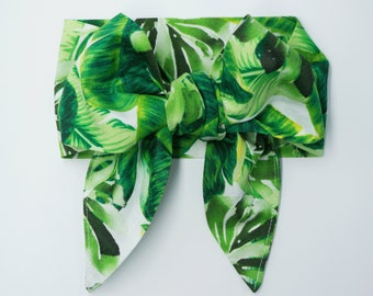 Tropical hair scarf headband • TROPICAL LEAVES on WHITE