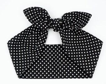 Handmade top knot headscarf headband • Black TINY POLKA DOTS