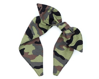 Knotted bow headband • Bow tied headband • Camo bow headband • Handmade headband • One size headband • Top knot bow headband • CAMOUFLAGE