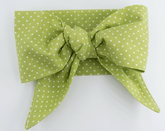 Handmade head wrap headband • GREEN MINI DOTS