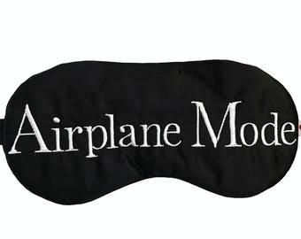 Airplane Mode satin sleep • Travel sleep mask • Unisex sleep mask • Travel Gift • Adjustable sleep mask •  Frequent flyer gift