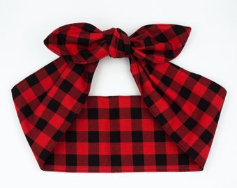 Handmade top knot headscarf headband • RED BLACK PLAID