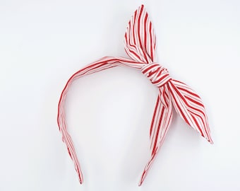 Handmade top knot bow headband • RED WHITE STRIPES