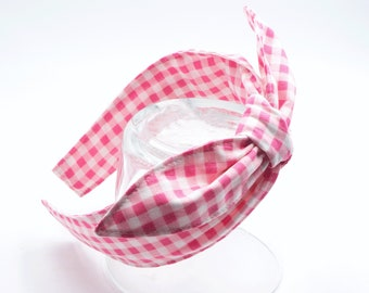PINK gingham headband • Knotty bow headband • Knotted bow headband • Bow tied headband • Bow headband