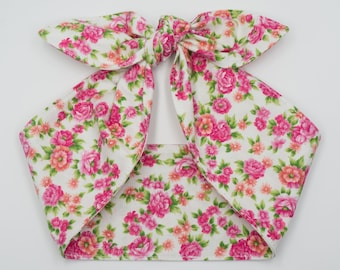 Top knot head wrap • Pin Up Rockabilly head scarf • Retro 50s head wrap tie • Photo prop head wrap • HAPPY BIRTHDAY Black head scarf