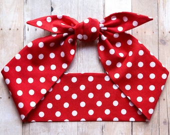 Red polka dots headscarf, We can do it hair scarf, Pin up Rockabilly, Halloween Rosie the Riveter, Top knot headband, Christmas headband
